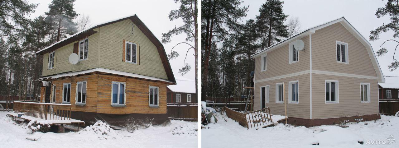 Фото: Строение до и после проведения облицовочных работ