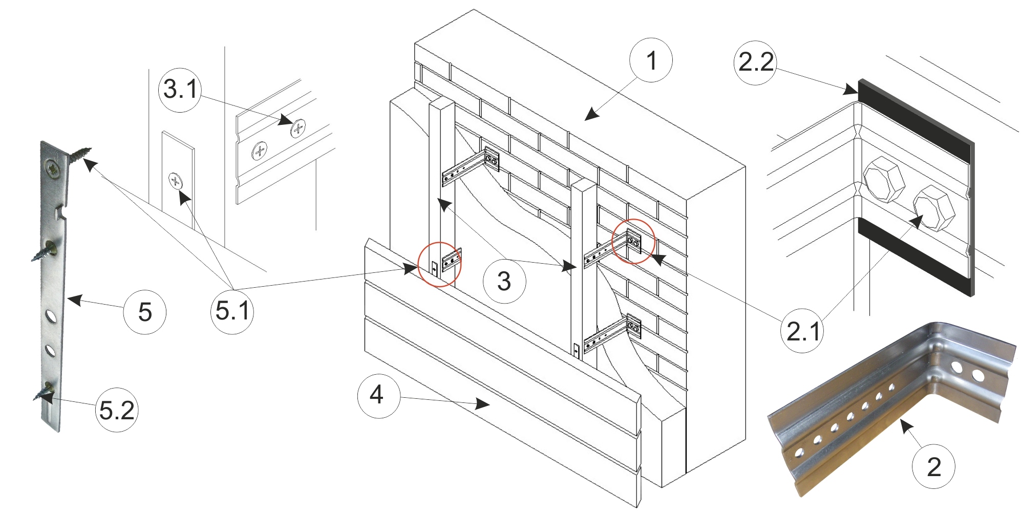 Фото: Схема установки простого каркаса под вентфасад