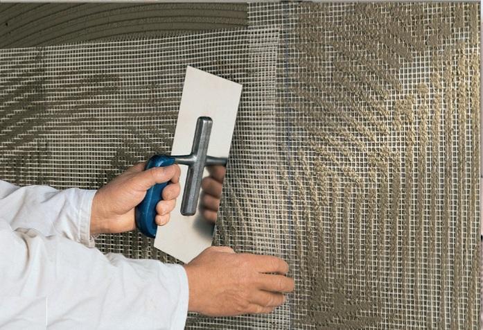 Фото: Армирование минеральных плит стекловато