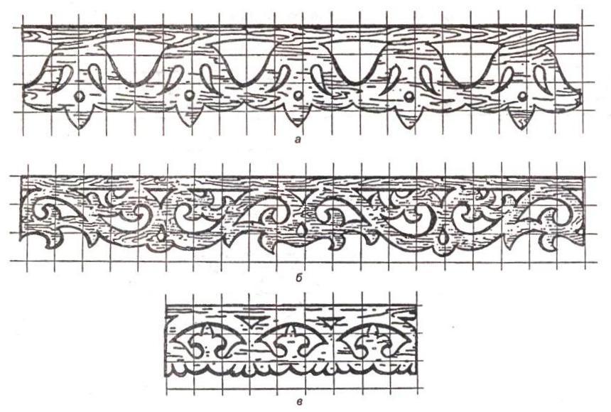 Фото: Трафарет верхней и нижней резной доски различных орнаментов