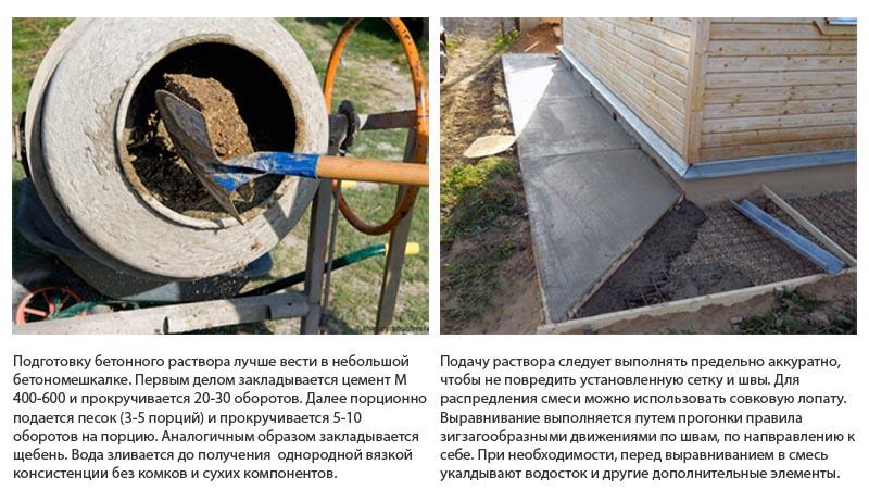 Фото: Подготовка бетонного раствора и подача на место заливки