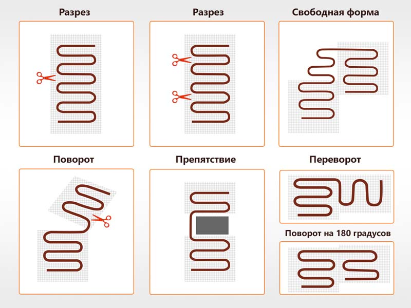 Фото: Схема подрезки и раскладки нагревательного мата