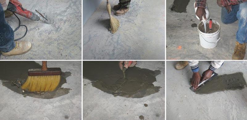 Фото: Этапы устранения повреждений на бетонной плите