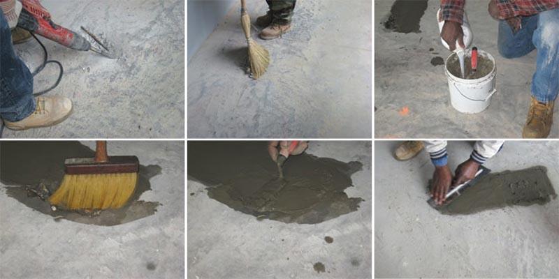 Фото: Ремонт легких повреждений в бетоне можно сделать цементно-песчаным раствором