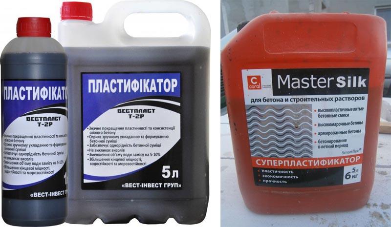 Фото: Пластифицирующая смесь от различных производителей