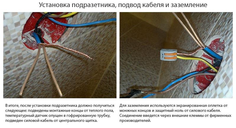 Фото: Подвод кабеля питания и заземление проводки