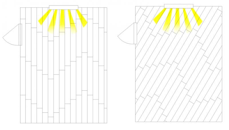 Фото: Сравнение настила ламината по прямой и диагонали