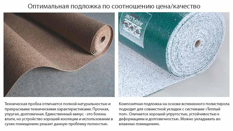 Фото: Рекомендуемые подложки для работы с ламинатом