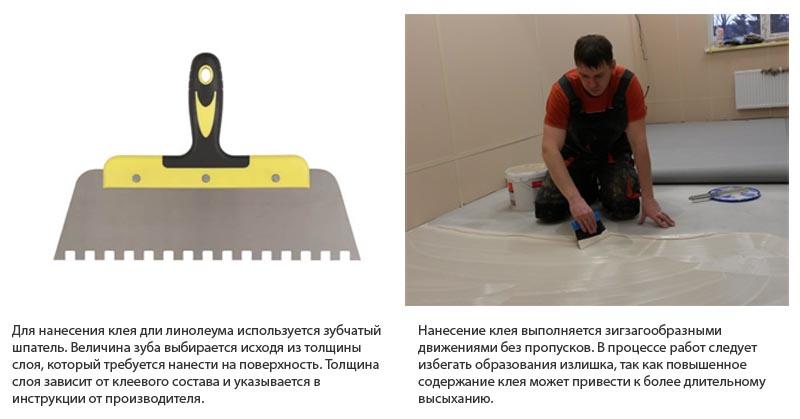Фото: Для нанесения клея используется зубчатый шпатель