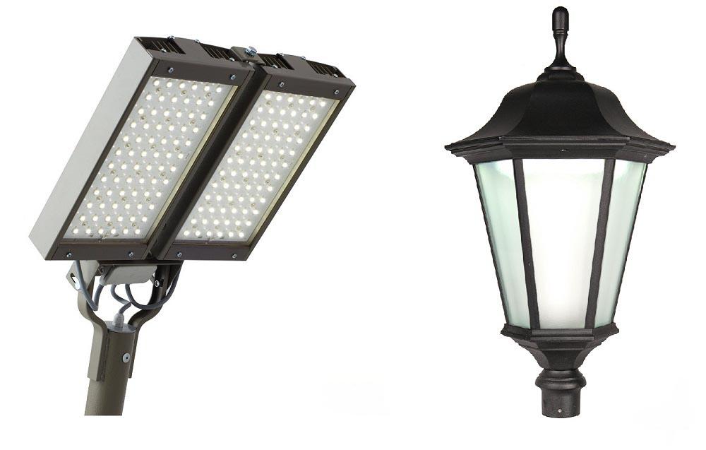 Фото: Для подсветки большой площади фасада используются мощные осветительные приборы