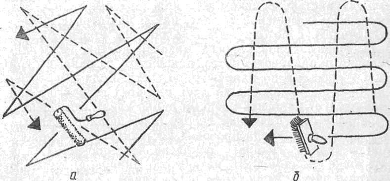 Фото: Совмещение вертикальных и горизонтальных движений валиком и кистью