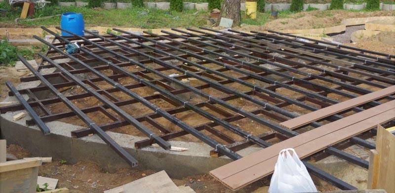 Фото: Обустройство опорной конструкции на бетонной каркасе