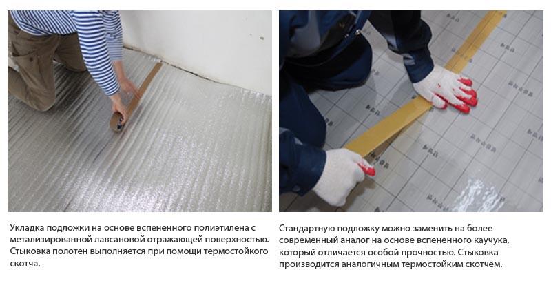Фото: Укладка отражающей подложки с металлизированным покрытием
