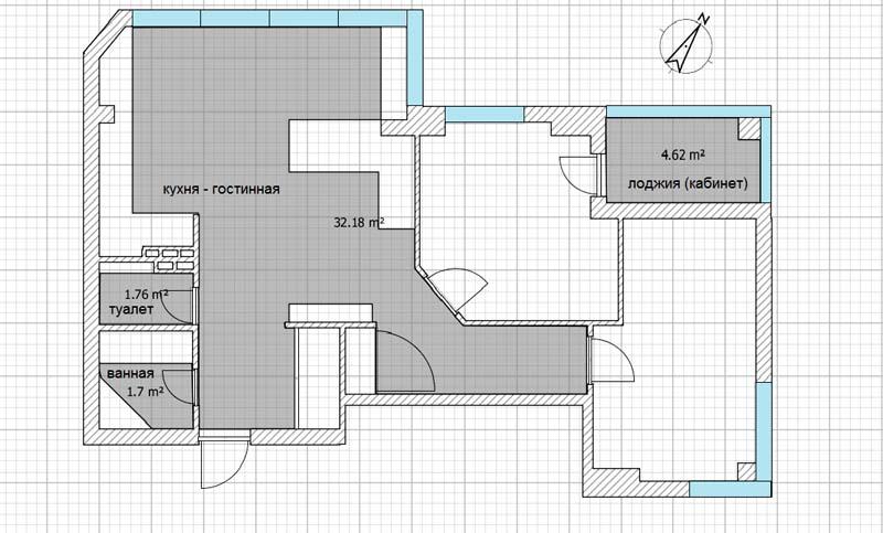 Фото: Общий пример разметки квартиры по полезной площади
