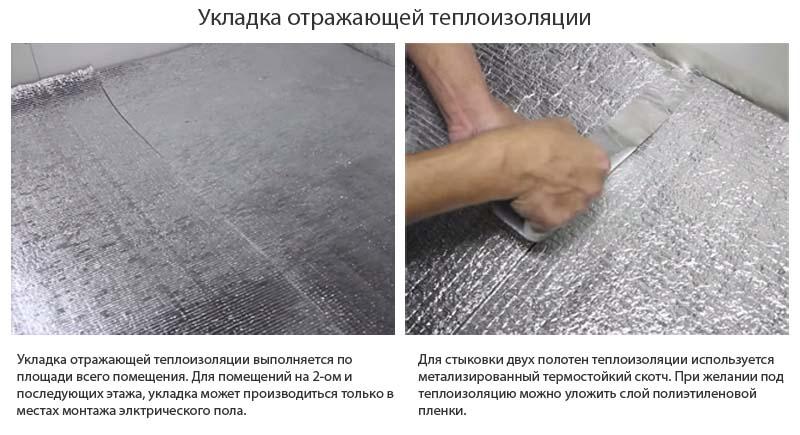 Фото: Укладки полотен отражающего теплоизоляционного материала