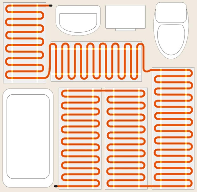 Фото: Схема укладки нагревательного мата в ванной комнате