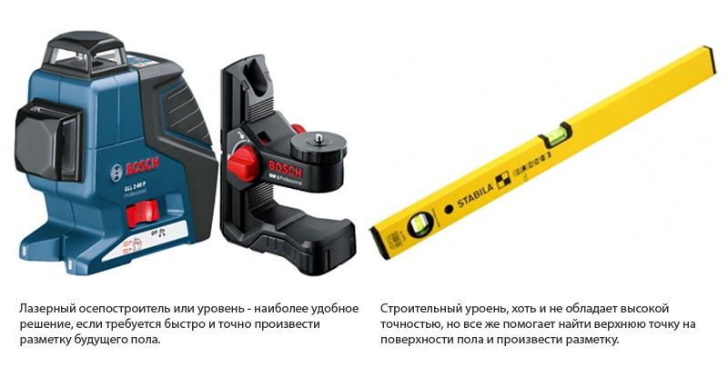 Фото: Расчеты уровня пола выполняются с использованием строительных инструментов