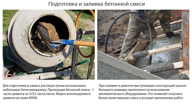 Фото: Подготовка и заливка бетонной смеси по армирующему каркасу