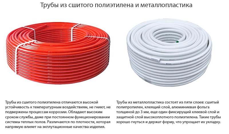 Фото: Сравнение трубы из полиэтилена и металлопластика