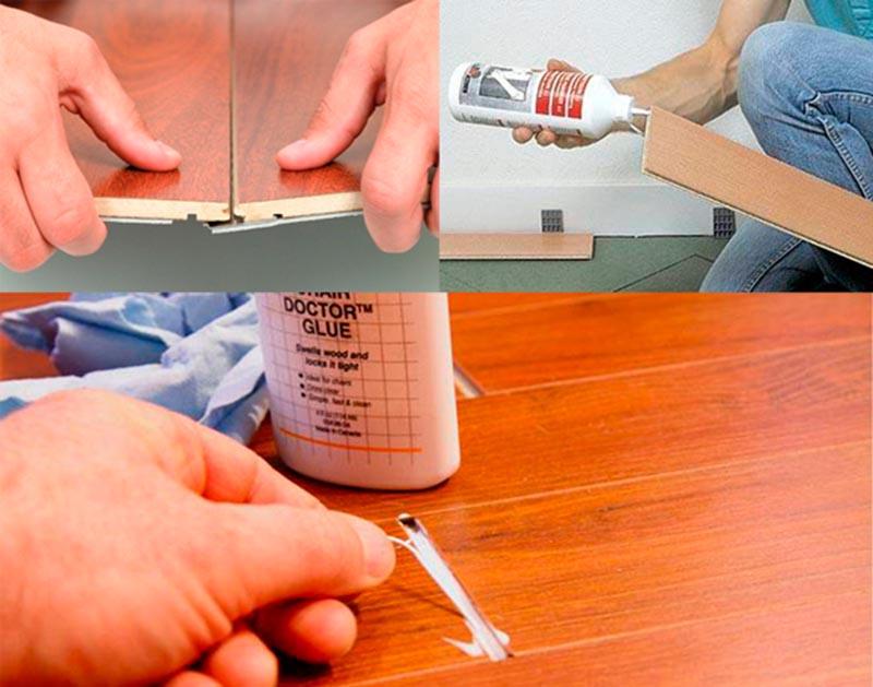 Фото: Применение клея для различных систем фиксации ламината