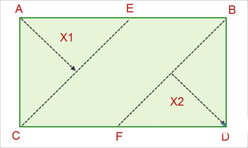 Фото: Схема для расчетов ламината на прямоугольную комнату