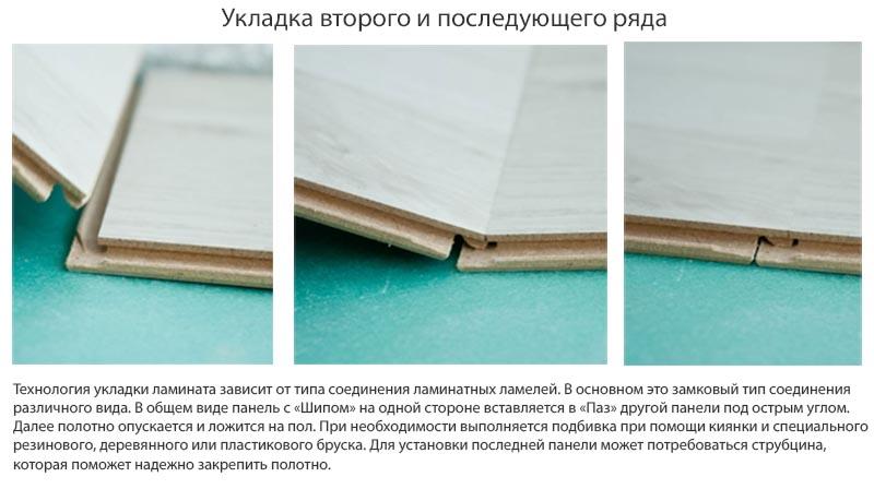 Фото: Рекомендации по настилу второго и последующих рядов ламината