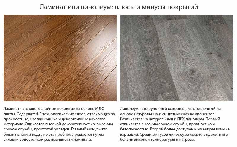 Фото: Сравнение плюсов и минусов обоих покрытий