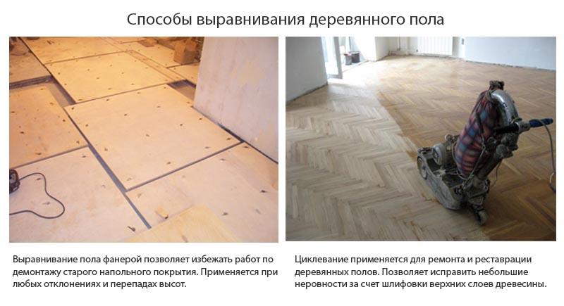 Фото: Два способа выравнивания деревянного основания